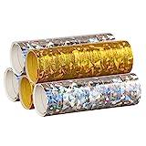 PartyMarty Silber & Gold Mix - Metallic Luftschlangen im 5er Sparpack - 5 Rollen mit...
