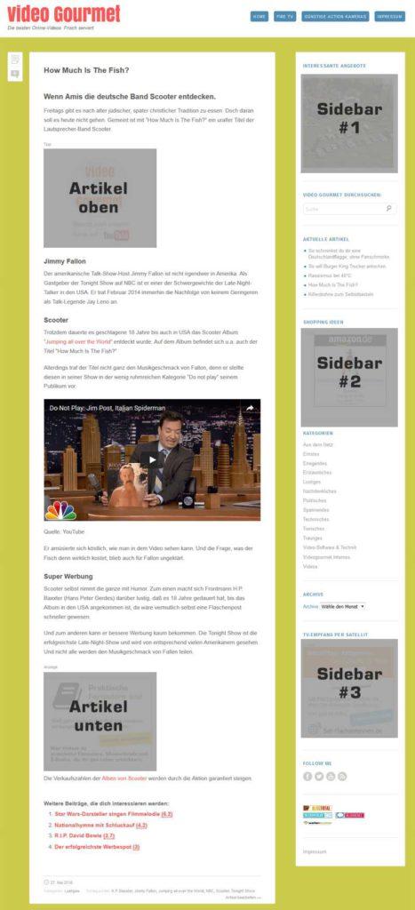 Plätze für Werbebanner auf videogurmet.de