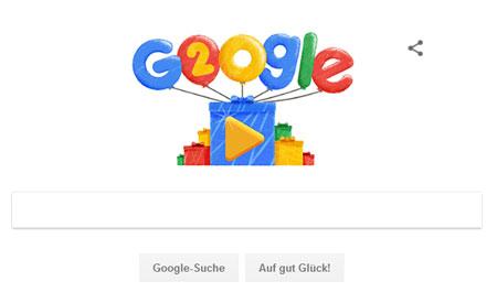 Google Doodle zu 20 Jahre Google